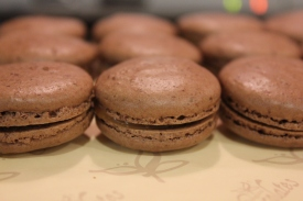 Chocolate French Macarons with Salted Butter Caramel